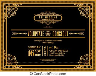 Vintage Wedding invitation card border and frame template