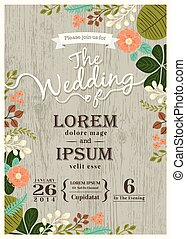 Vintage wedding invitation card with cute flourish background