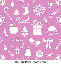Violet vector endless pattern with christmas icons