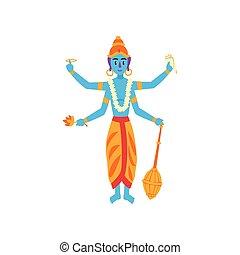 Vishnu Indian god, guardian of the Universe vector Illustration on a white background