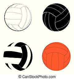 Volleyball vector set with black and white and color