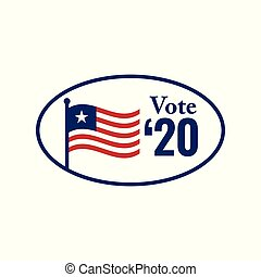 Voting 2020 Icon with Vote, Government, & Patriotic Symbolism and Colors