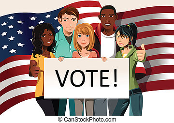 """A vector illustration of a group of young adults holding a """"Vote"""" sign"""