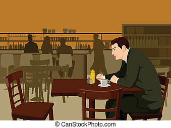Stock illustration of a man waiting at the cafe
