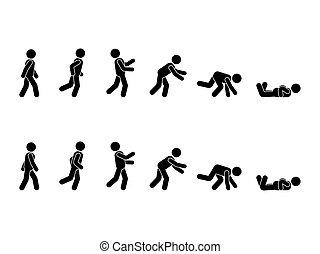 Walking man stick figure pictogram set