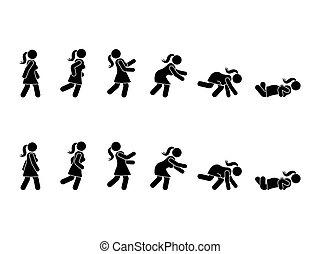 Walking woman stick figure pictogram set