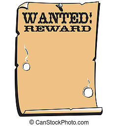 Wanted (dead or alive), reward poster or western sign clip art perfect for a background, border, frame or scrapbooking