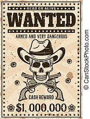 Wanted vintage western poster with cowboy skull