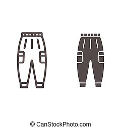 Warm pants line and solid icon, Winter clothes concept, winter outdoor clothing for active leisure sign on white background, warm trousers icon in outline style for mobile and web. Vector graphics.