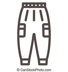 Warm pants line icon, Winter clothes concept, winter outdoor clothing for active leisure sign on white background, warm trousers icon in outline style for mobile and web. Vector graphics.