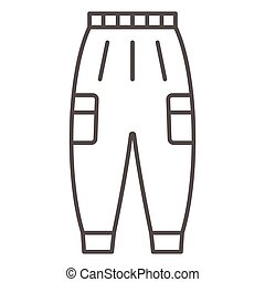 Warm pants thin line icon, Winter clothes concept, winter outdoor clothing for active leisure sign on white background, warm trousers icon in outline style for mobile and web. Vector graphics.