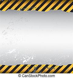 warning themed torn wallpaper