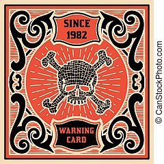 Warning card. Baroque style. Vector Layered