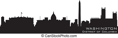 Washington, District of Columbia skyline. Detailed vector silhouette