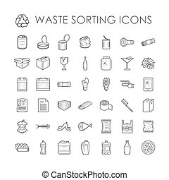 Waste sorting ecology outline icons and waste sorting environment trash outline icons. Waste sorting recycle container. Set of garbage separation recycling related waste sorting outline icons.