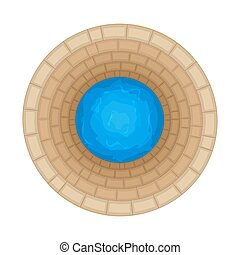 Water well of brick isolated on white background. Top down view on well full of water over.