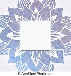 Watercolor violet frame with floral pattern. Element for design. Lace flower round ornament in oriental style on white background. Vector illustration