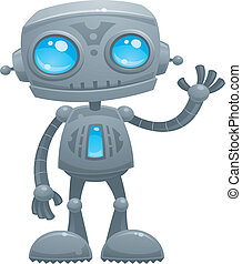 Vector cartoon illustration of a cute and friendly robot with blue eyes waving hello.