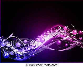 wavy glowing abstract neon background with balls and floral