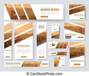 Web banners templates with diagonal stripes for photos.