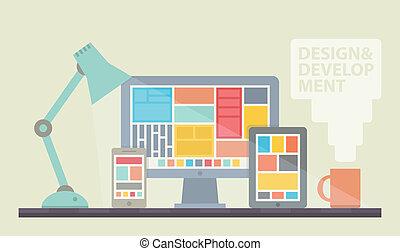 Flat design vector illustration of mobile and desktop website design development process with minimalistic modern digital tablet, desktop computer and smartphone on a designer workplace in stylish color. Isolated on beige background