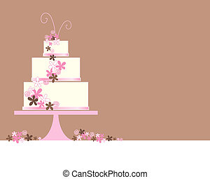 an illustration of an abstract three tier wedding cake with stylized flowers and decoration on a brown background with space for text