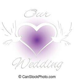 Wedding card invitation with birds and heart love logo