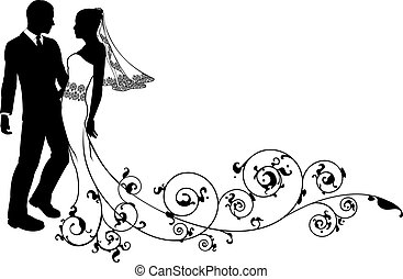 Bride and groom at their wedding, perhaps having first dance or about to kiss, with beautiful bridal dress and abstract floral pattern train.