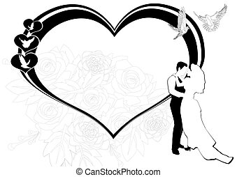 Newlyweds on the background of the scope of hearts and flowers. The illustration on a white background.