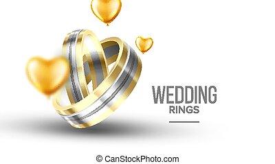 Wedding Golden With Platinum Rings Banner Vector