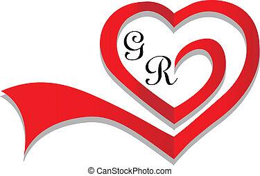 Wedding heart card invitation