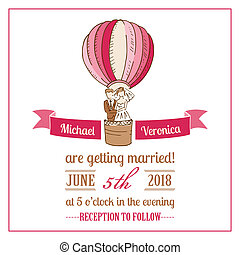Wedding Invitation Card - for design, scrapbook - in vector