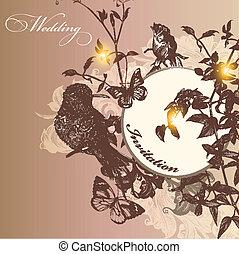 Wedding invitation card in vintage