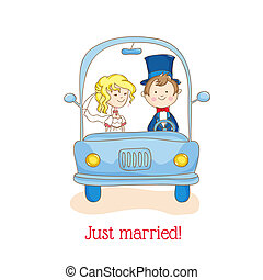 """Wedding Invitation Card - """"Just Married"""" Car Theme - in vector"""