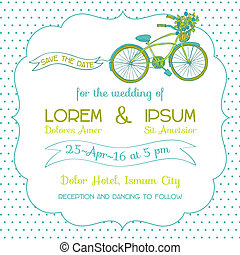 Wedding Invitation Card - Vintage Bicycle Theme - in vector
