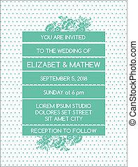 Wedding Invitation Card - Vintage Floral Theme - in vector