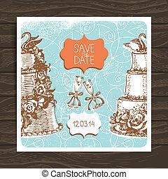 Wedding invitation card. Vintage hand drawn illustration