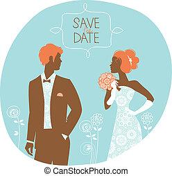 Wedding invitation card. Vintage illustration with newlyweds