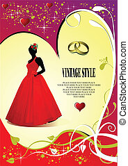 Wedding invitation card with bride