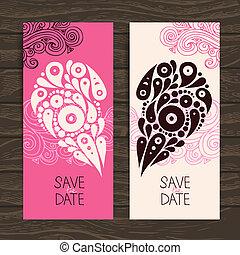 Wedding invitation card with decorative stylish heart