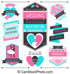Wedding invitation retro set of design elements.