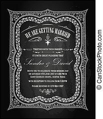 Wedding invitation vintage card.