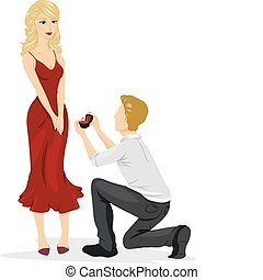 A Man Going Down on His Knees to Propose to the Lovely Woman He Wants to Marry