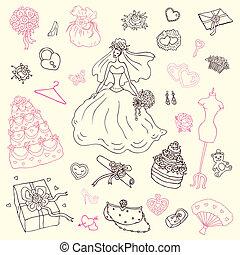 Wedding set. Hand drawn illustration.