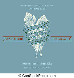 Wedding Vintage Invitation Card - Feather Theme - in vector