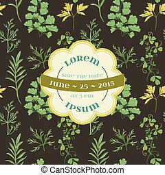Wedding Vintage Invitation Card - Floral and Grass Theme - in vector