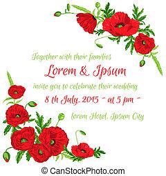 Wedding Vintage Invitation Card - Poppy Floral Theme - in vector
