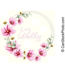 Wedding wreath with summer colorful flowers Vector watercolor card. Floral frame decors
