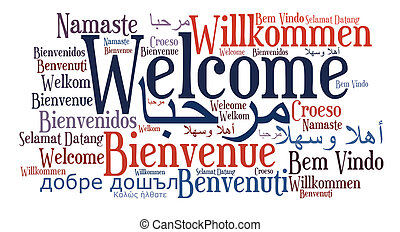 Welcome phrase in different languages. Word cloud. Cultural diversity concept.