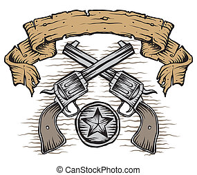 western guns with scroll and star